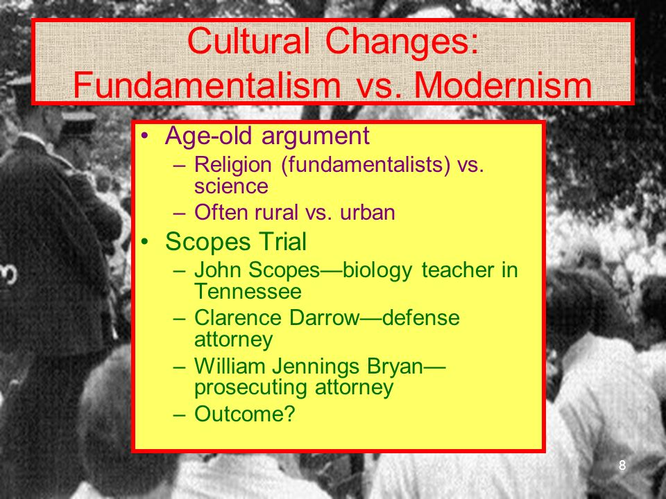 Cultural Changes: Fundamentalism vs. Modernism