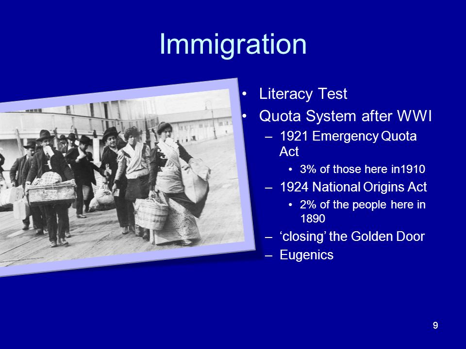Immigration Literacy Test Quota System after WWI