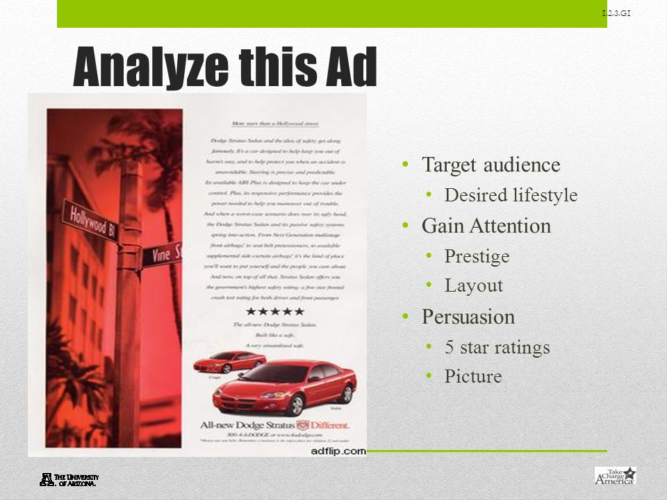 Analyze this Ad Target audience Gain Attention Persuasion