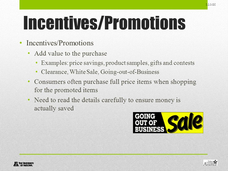 Incentives/Promotions