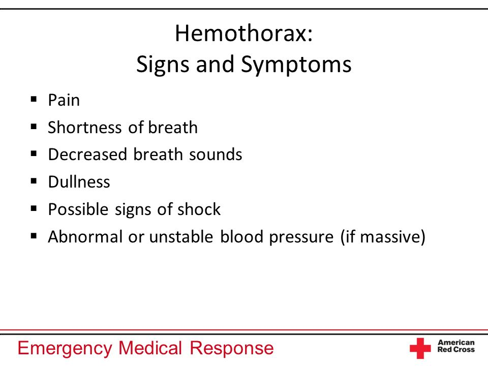 Hemothorax: Signs and Symptoms