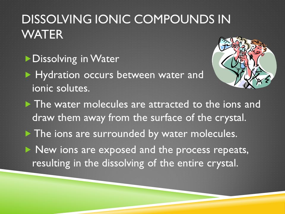 Dissolving ionic compounds in water