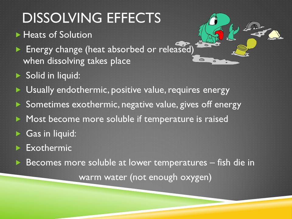 Dissolving effects Heats of Solution