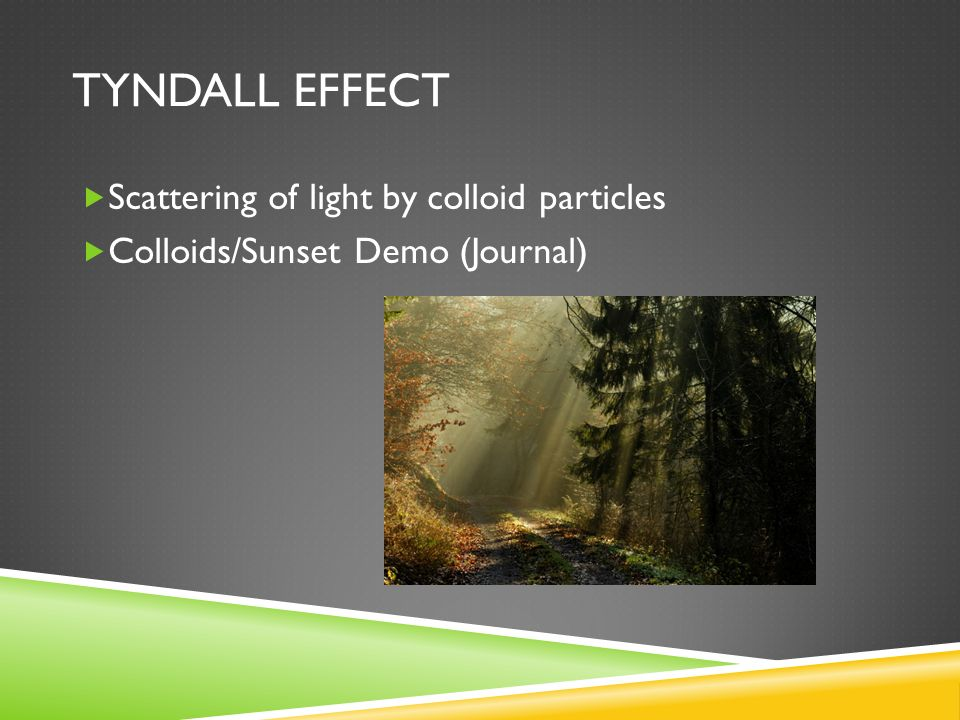 Tyndall effect Scattering of light by colloid particles