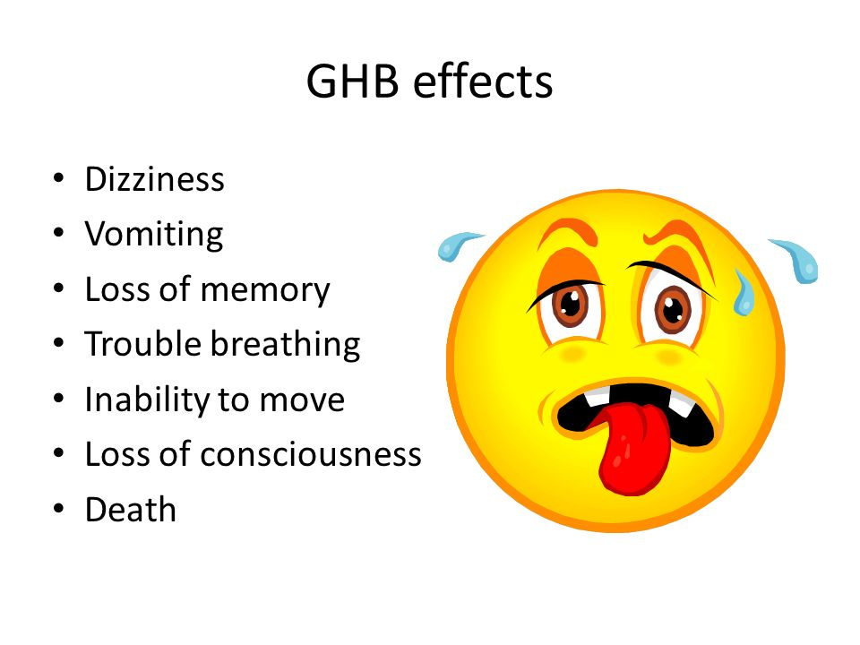 GHB effects Dizziness Vomiting Loss of memory Trouble breathing