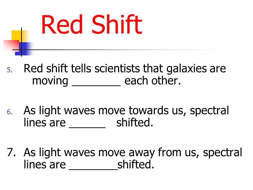 Red Shift Red shift tells scientists that galaxies are moving ________ each other.