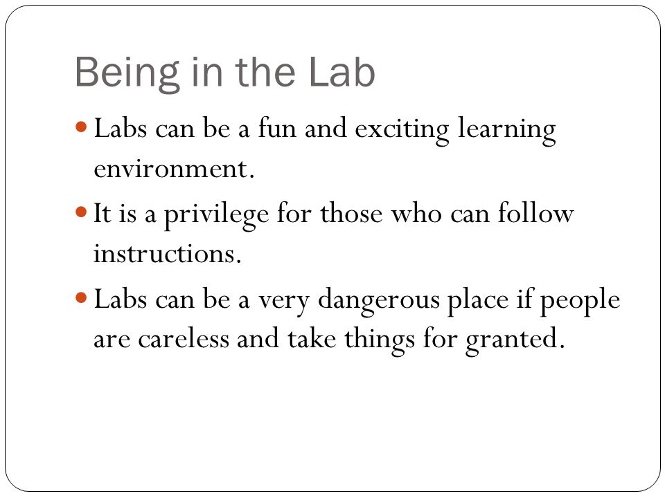 Being in the Lab Labs can be a fun and exciting learning environment.
