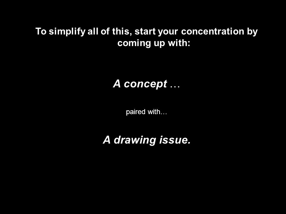 To simplify all of this, start your concentration by coming up with: