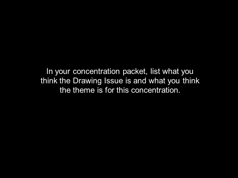 In your concentration packet, list what you think the Drawing Issue is and what you think the theme is for this concentration.
