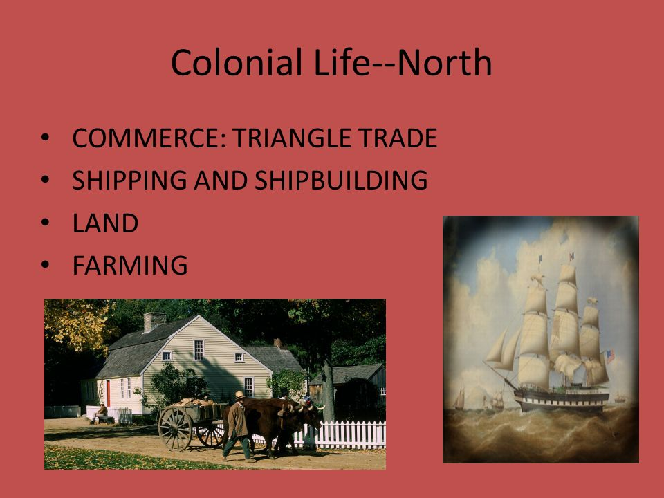 Colonial Life--North COMMERCE: TRIANGLE TRADE