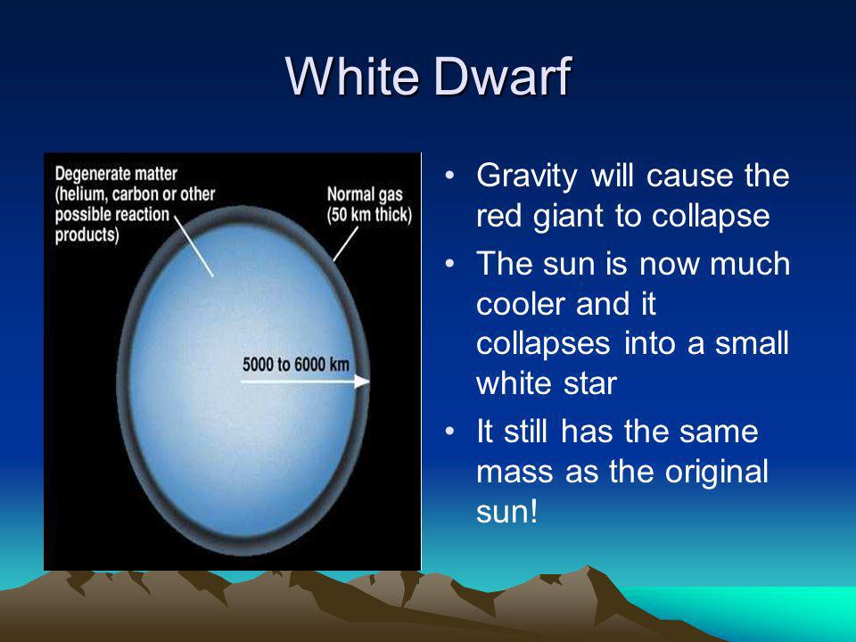 White Dwarf Gravity will cause the red giant to collapse