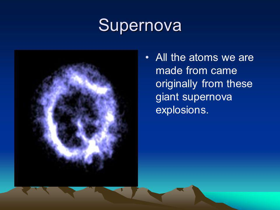Supernova All the atoms we are made from came originally from these giant supernova explosions.