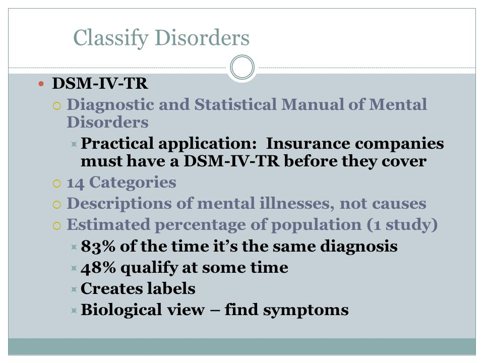Classify Disorders DSM-IV-TR
