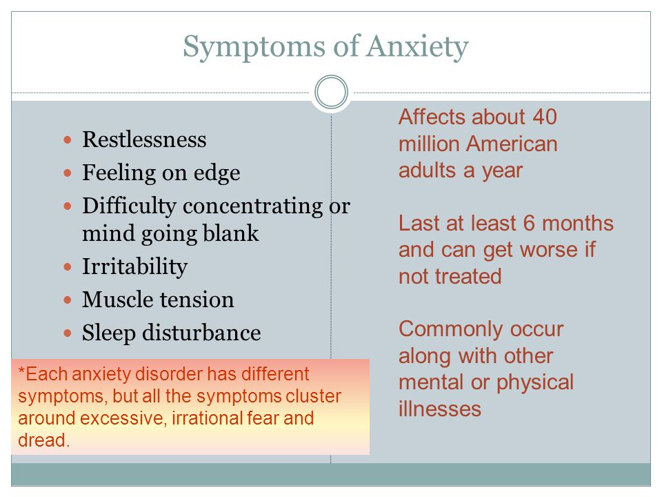 Symptoms of Anxiety Restlessness Feeling on edge