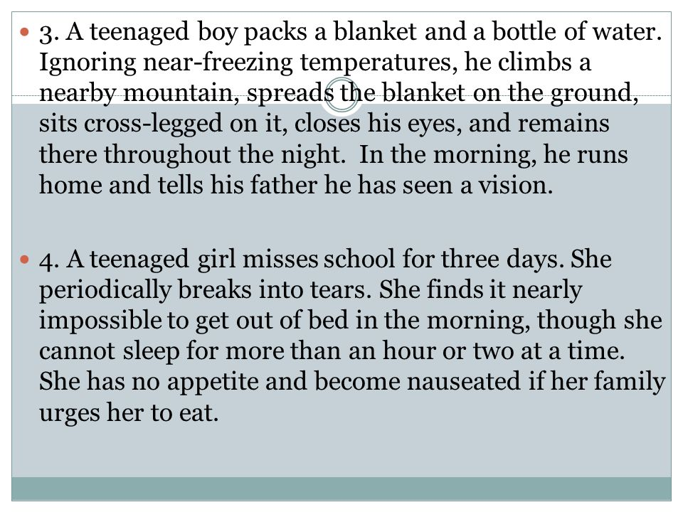 3. A teenaged boy packs a blanket and a bottle of water