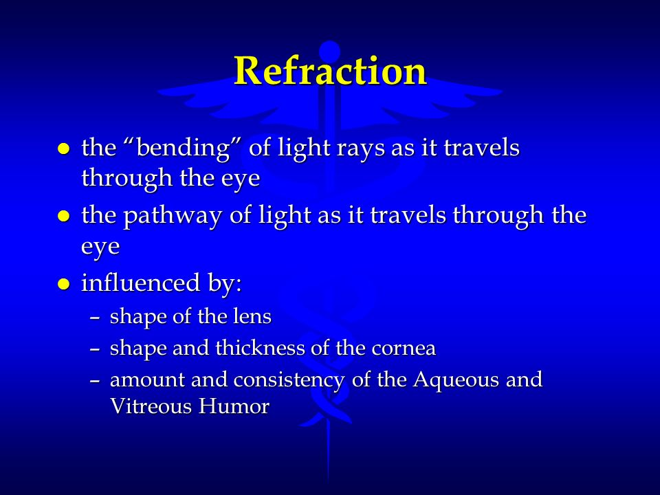 Refraction the bending of light rays as it travels through the eye