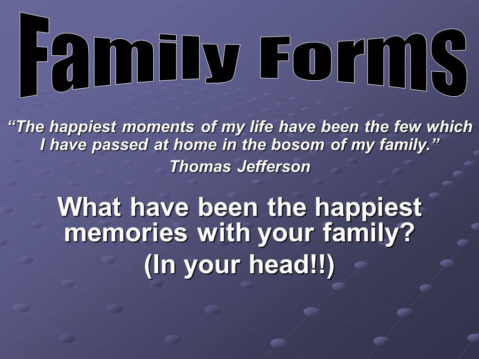 What have been the happiest memories with your family