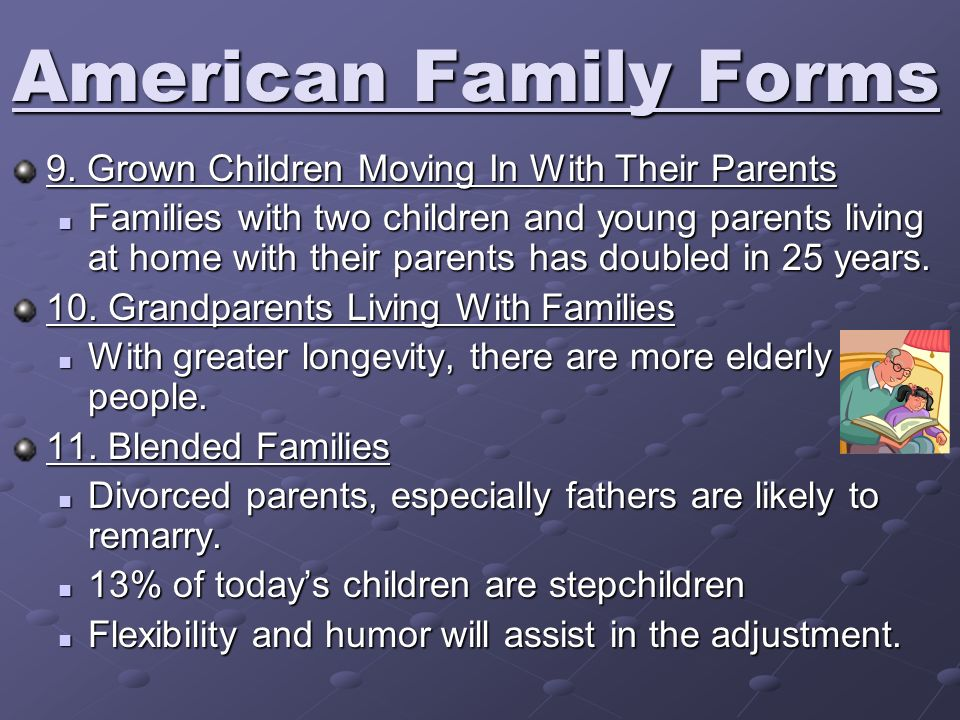 American Family Forms 9. Grown Children Moving In With Their Parents