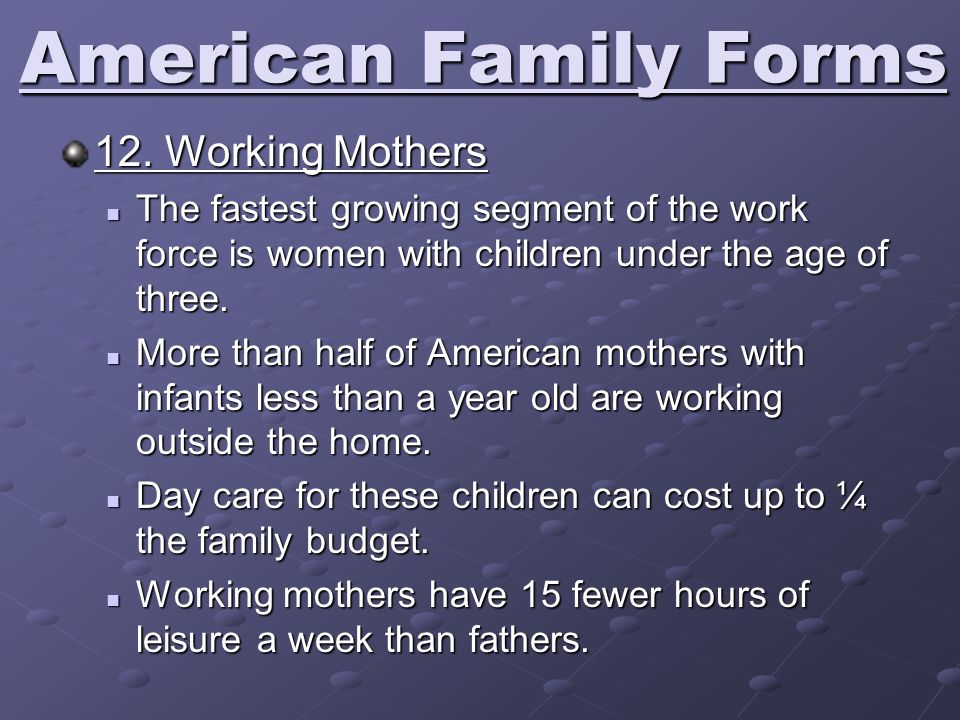 American Family Forms 12. Working Mothers