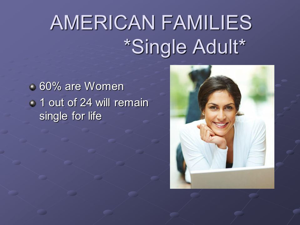 AMERICAN FAMILIES *Single Adult*