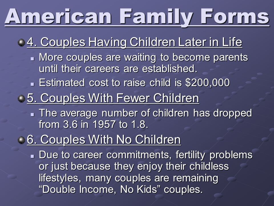 American Family Forms 4. Couples Having Children Later in Life