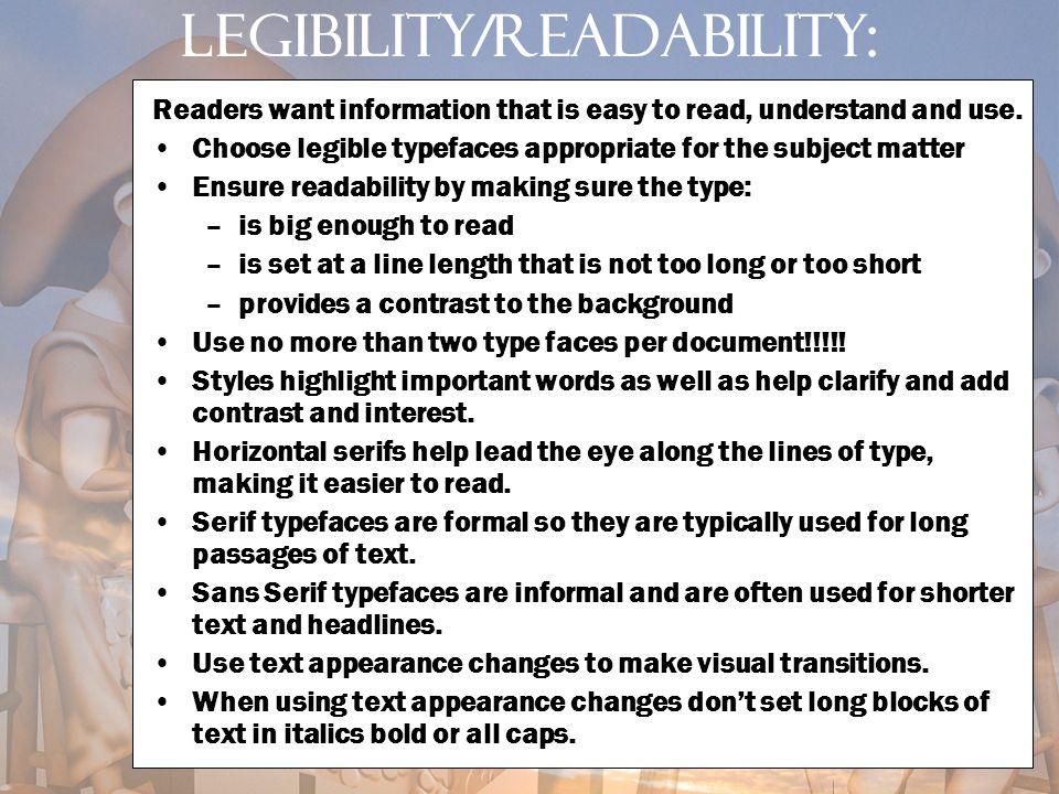 Legibility/readability: