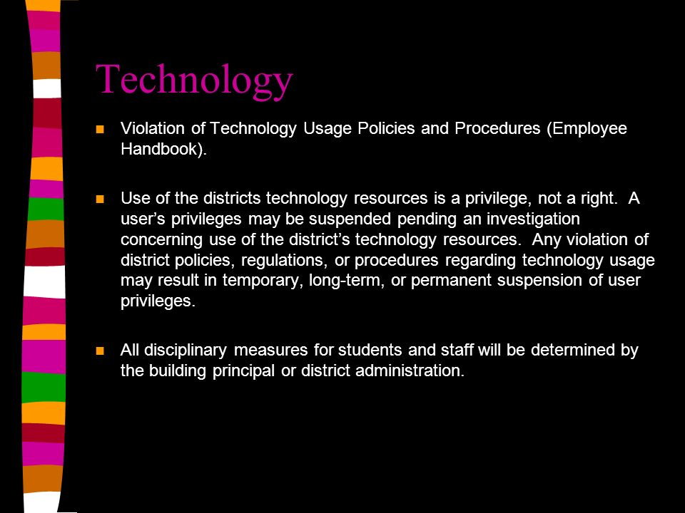 Technology Violation of Technology Usage Policies and Procedures (Employee Handbook).