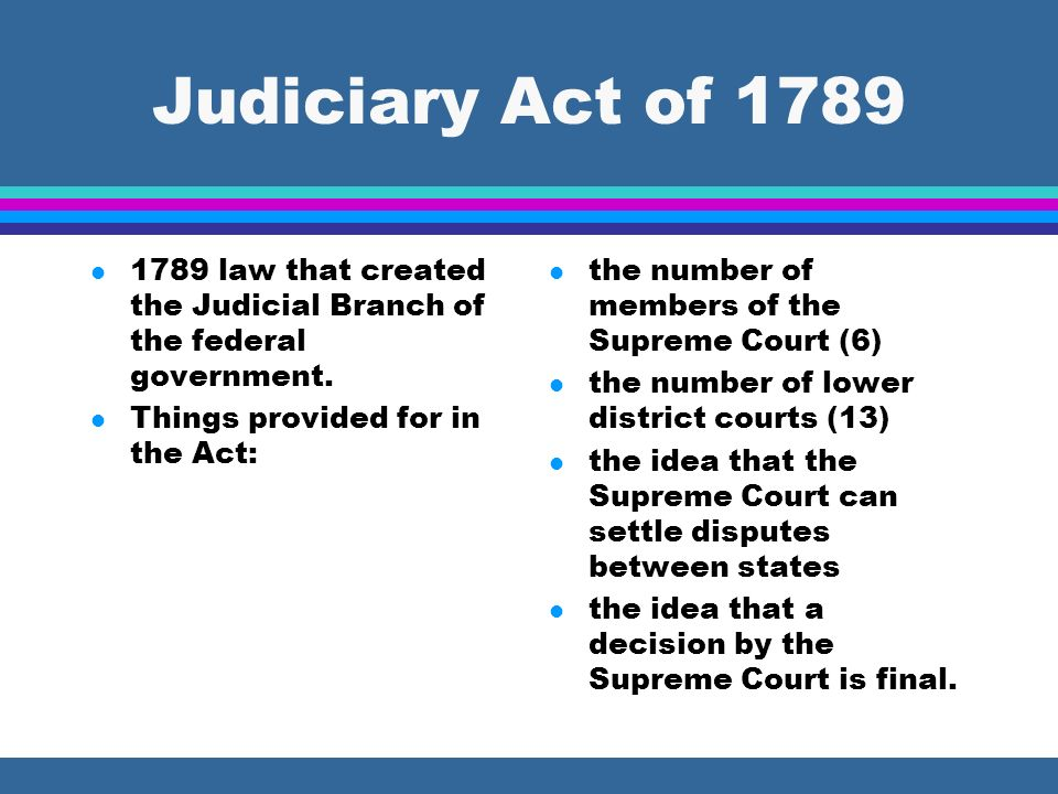 Judiciary Act of 1789 1789 law that created the Judicial Branch of the federal government. Things provided for in the Act: