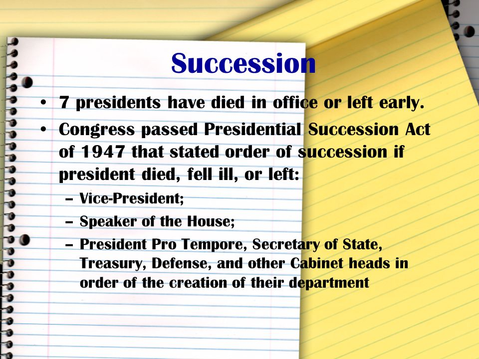 Succession 7 presidents have died in office or left early.