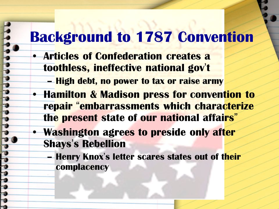 Background to 1787 Convention