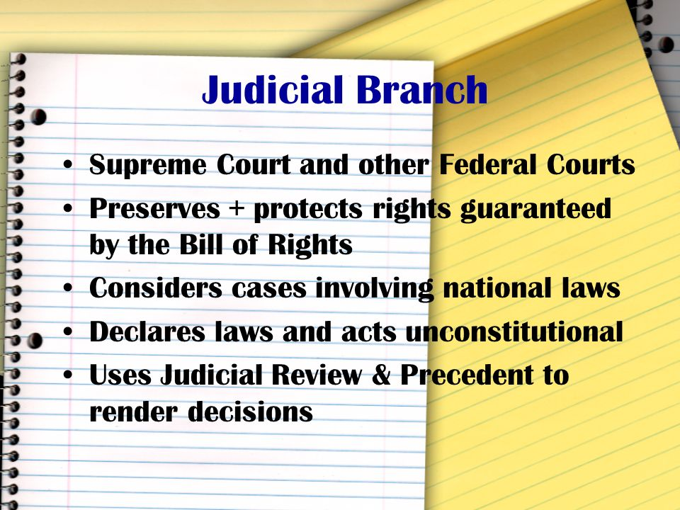 Judicial Branch Supreme Court and other Federal Courts