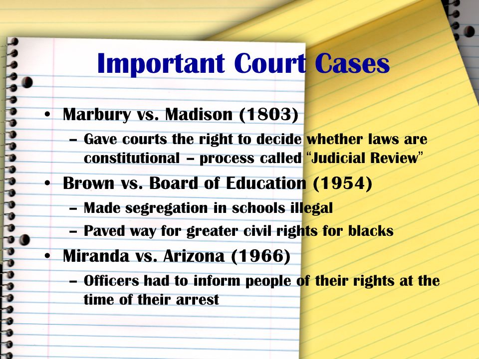 Important Court Cases Marbury vs. Madison (1803)