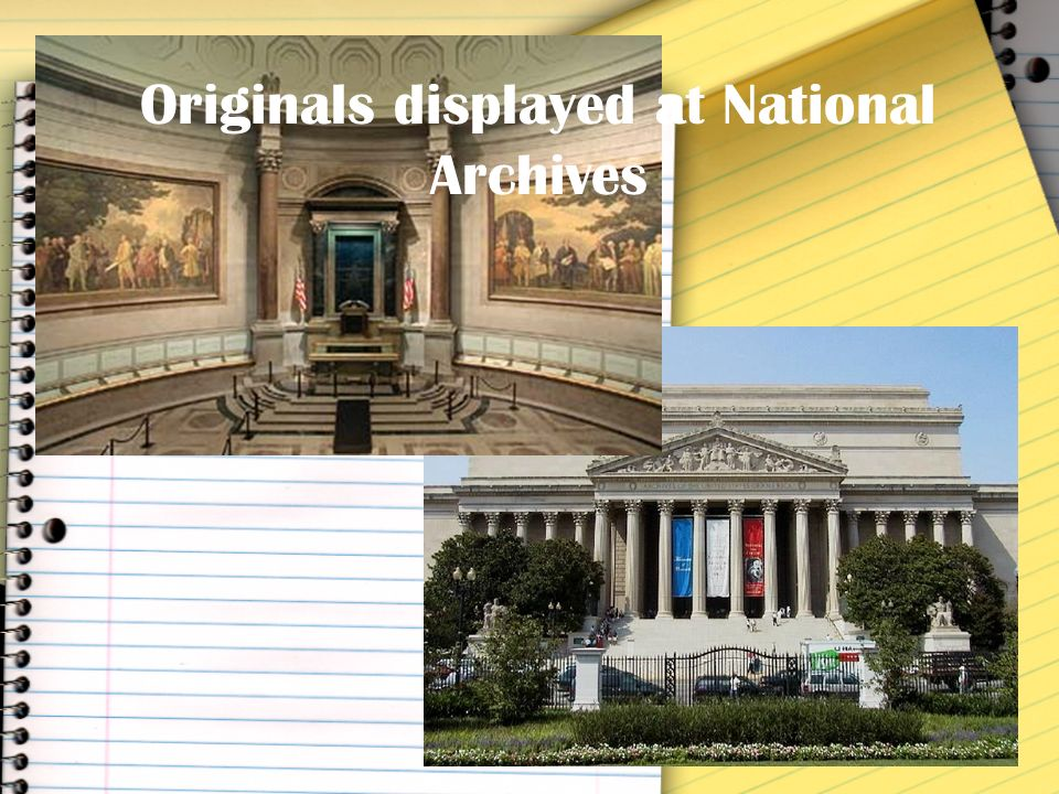 Originals displayed at National Archives