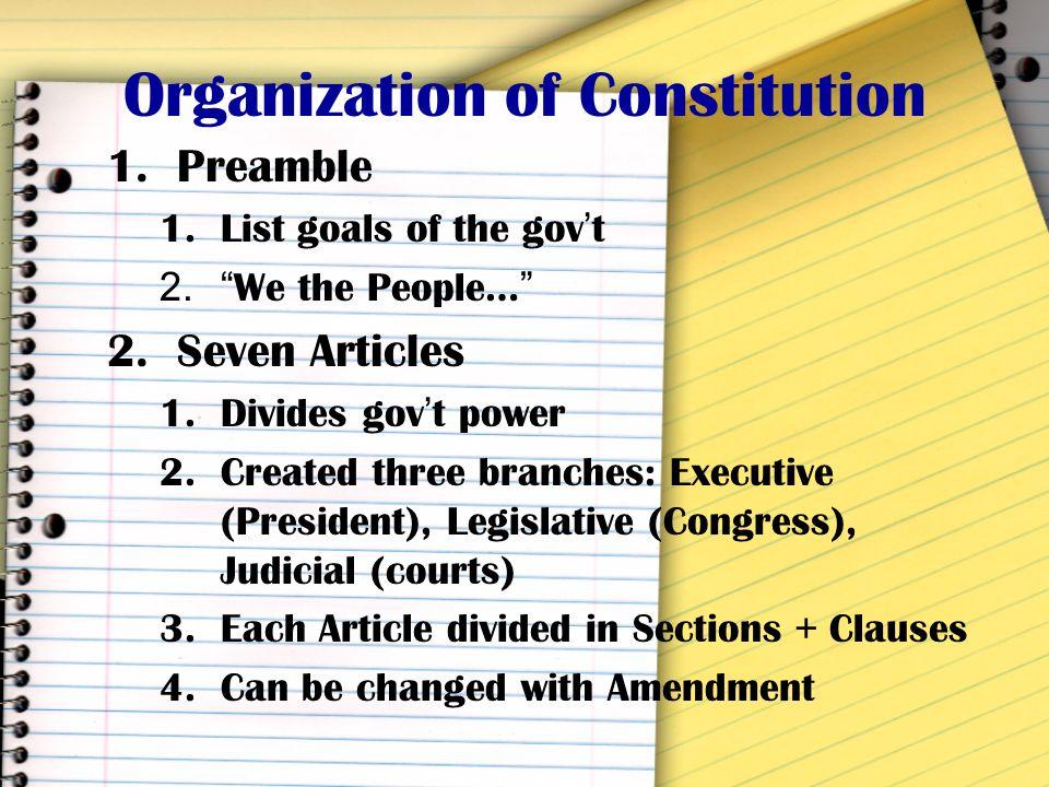 Organization of Constitution