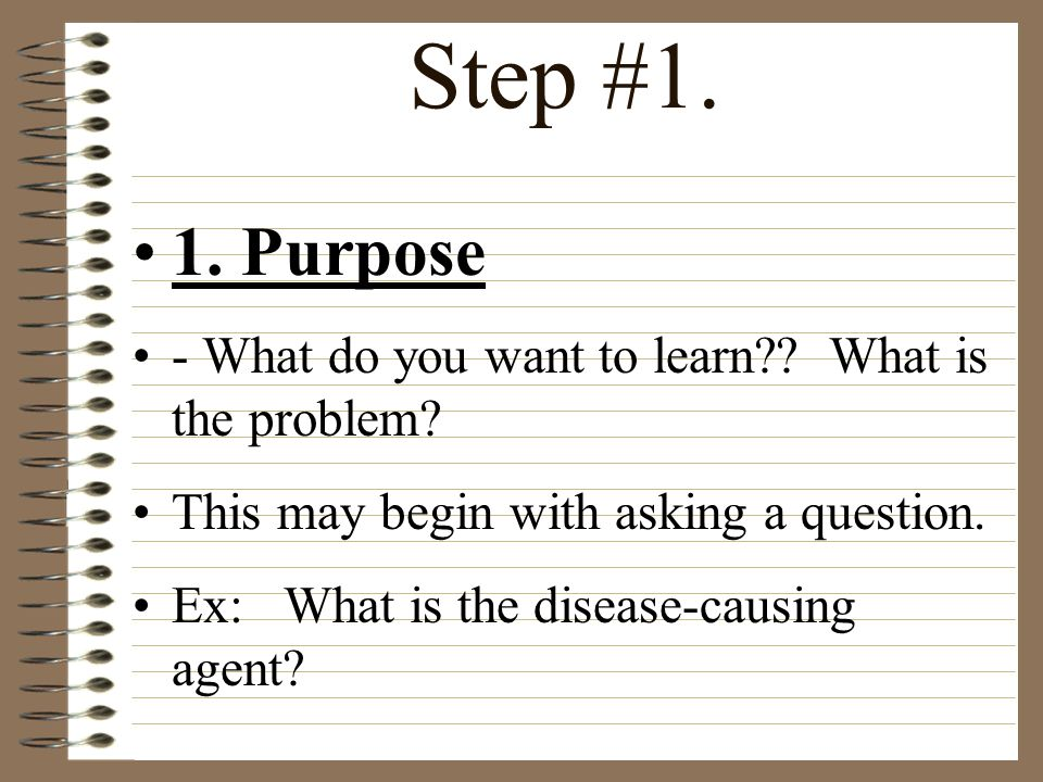 Step #1. 1. Purpose - What do you want to learn What is the problem