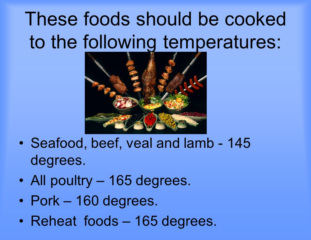 These foods should be cooked to the following temperatures: