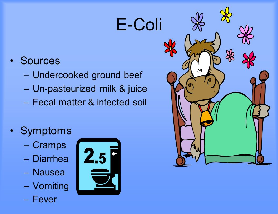 E-Coli Sources Symptoms Undercooked ground beef