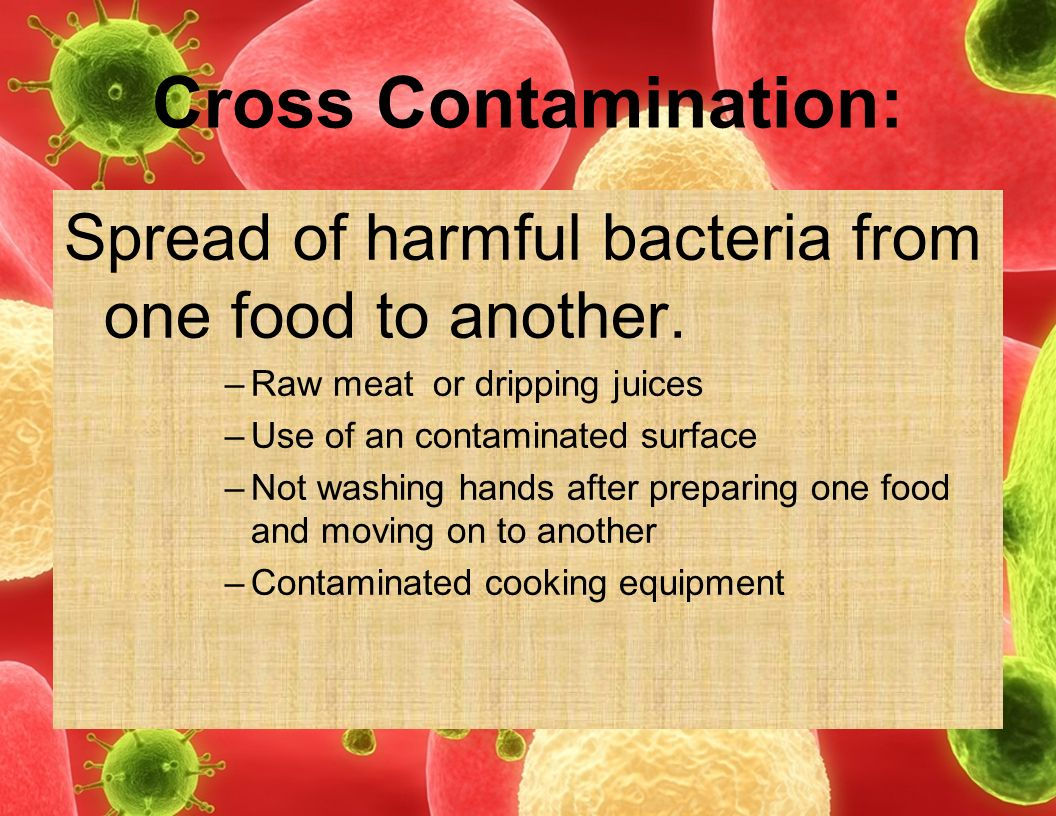 Cross Contamination: Spread of harmful bacteria from one food to another. Raw meat or dripping juices.