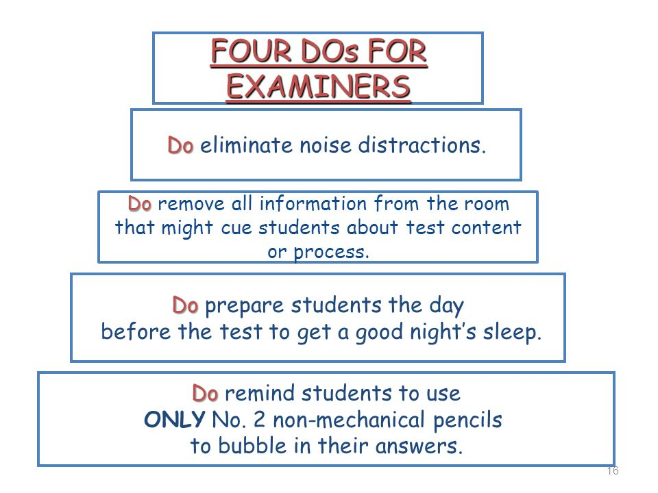 FOUR DOs FOR EXAMINERS Do eliminate noise distractions.