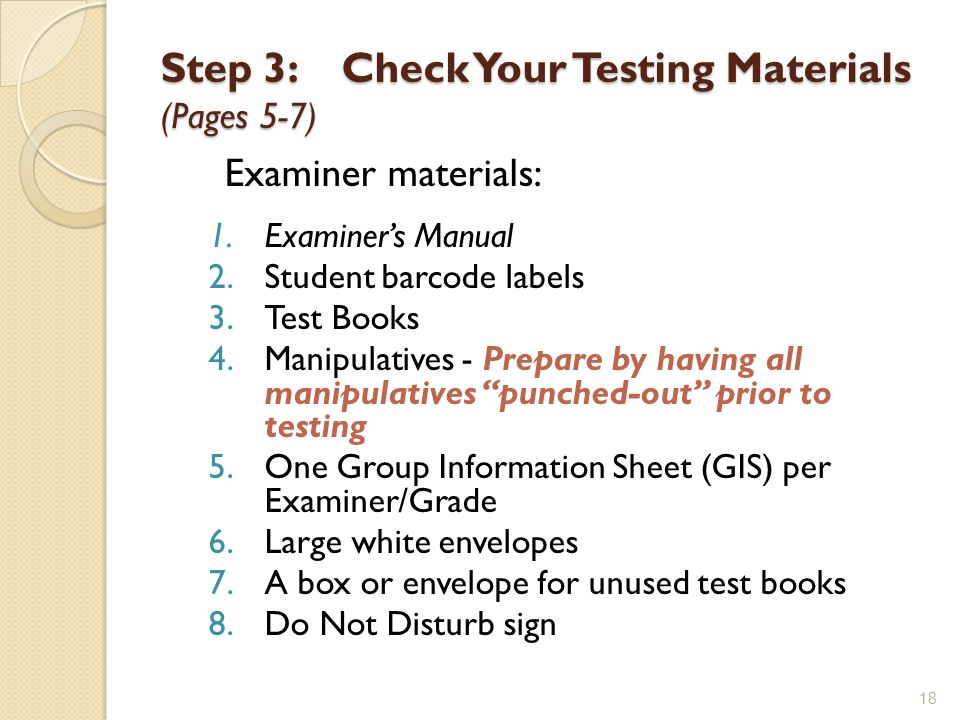 Step 3: Check Your Testing Materials (Pages 5-7)