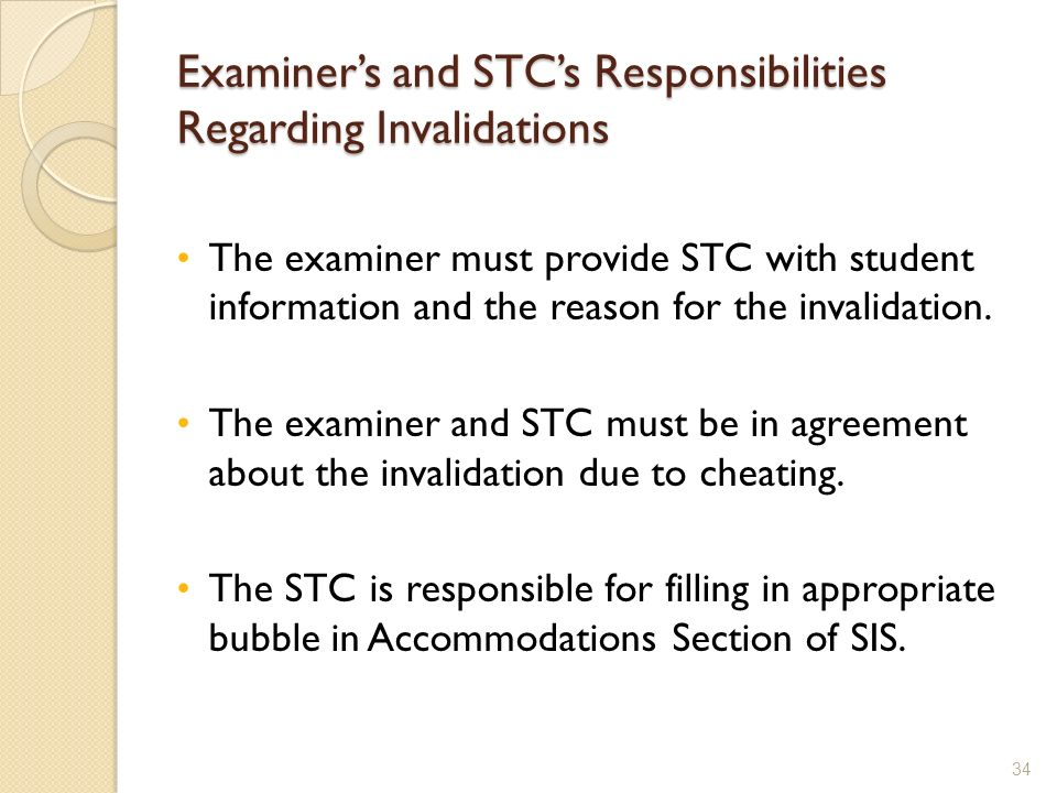 Examiner's and STC's Responsibilities Regarding Invalidations