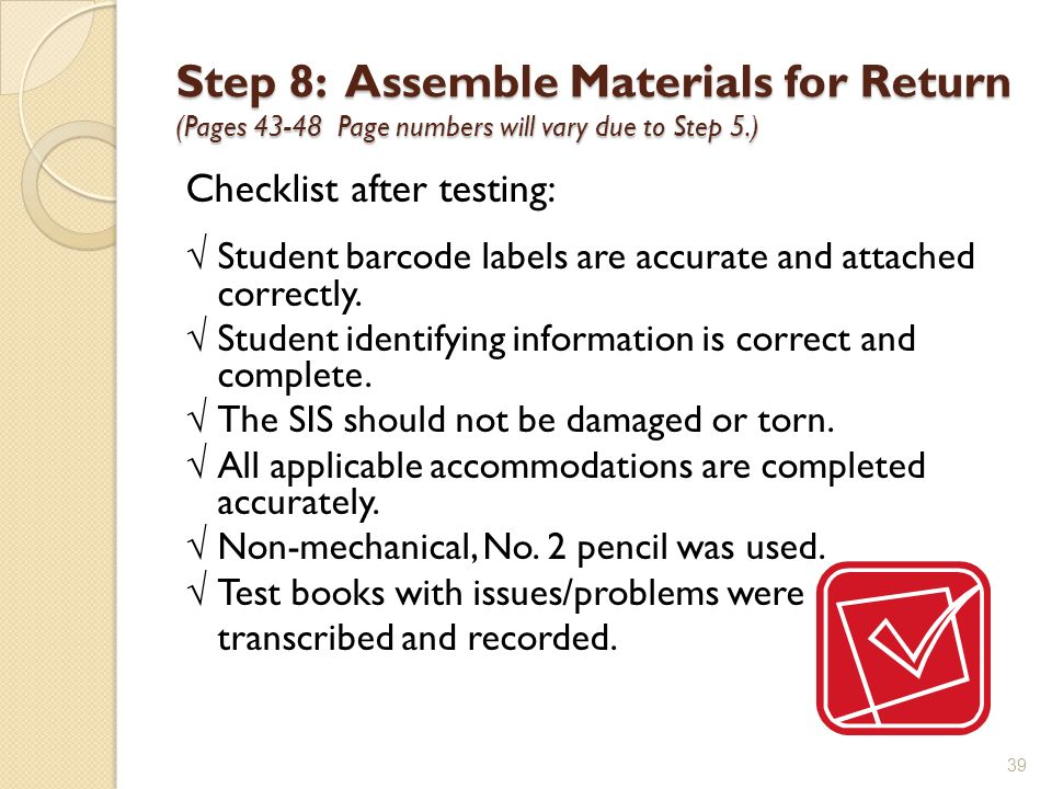 Step 8: Assemble Materials for Return (Pages Page numbers will vary due to Step 5.)
