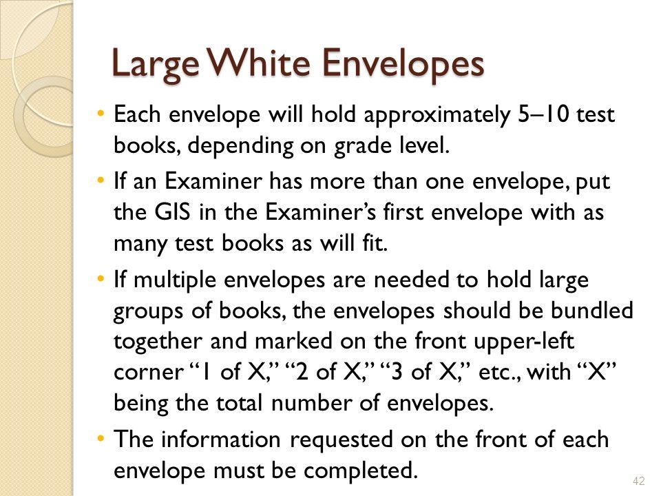 Large White Envelopes Each envelope will hold approximately 5–10 test books, depending on grade level.