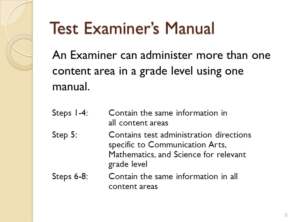 Test Examiner's Manual
