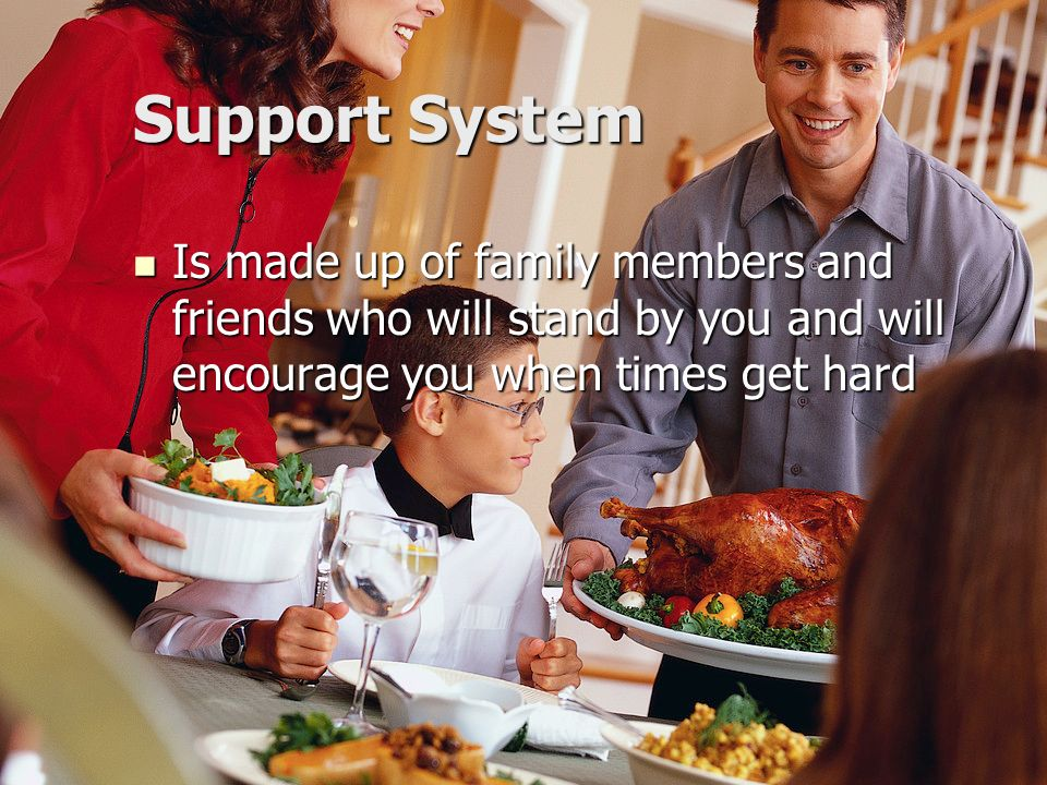 Support System Is made up of family members and friends who will stand by you and will encourage you when times get hard.