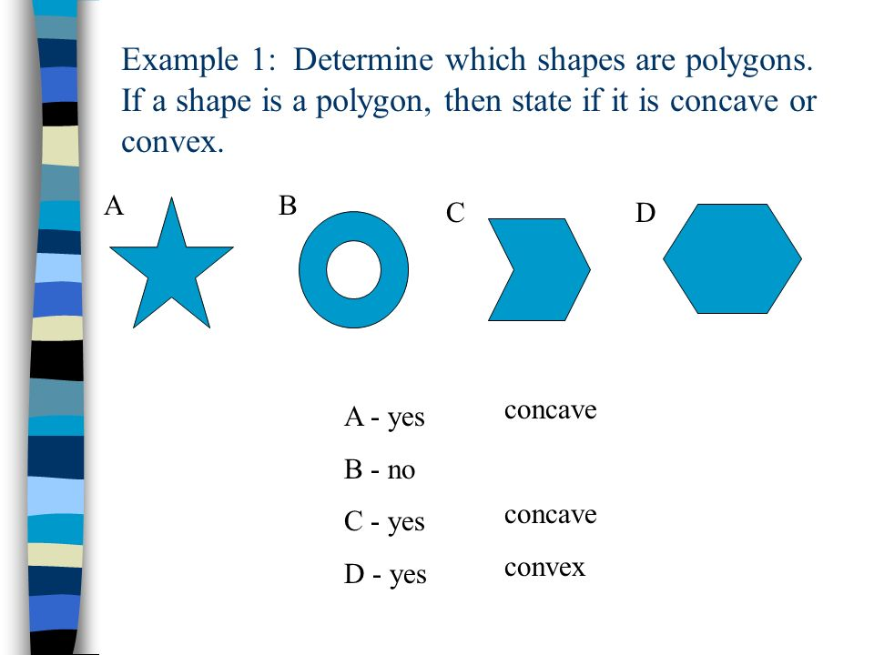 Example 1: Determine which shapes are polygons