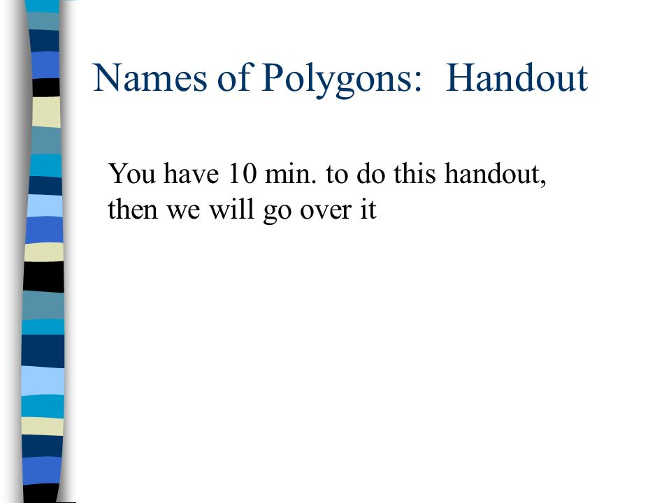 Names of Polygons: Handout