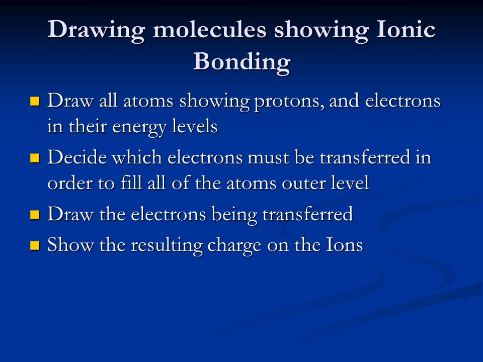 Drawing molecules showing Ionic Bonding