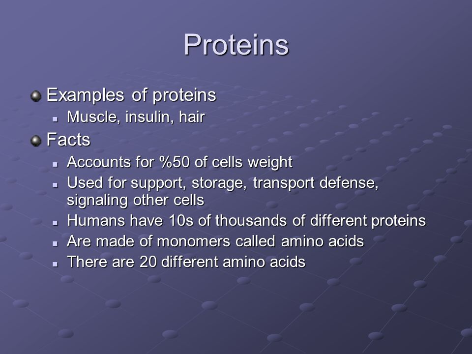 Proteins Examples of proteins Facts Muscle, insulin, hair