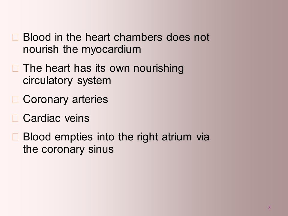 Blood in the heart chambers does not nourish the myocardium